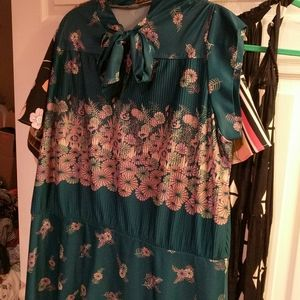 Vintage 60s 70s Floral Teal Plus Size Day Dress